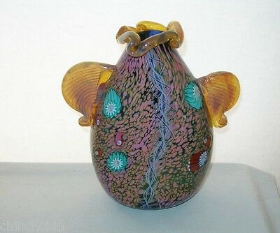 Mind Blowing SIGNED Paul Allen Counts SCULPTURE Glass VASE Millefiori OPALESCENT