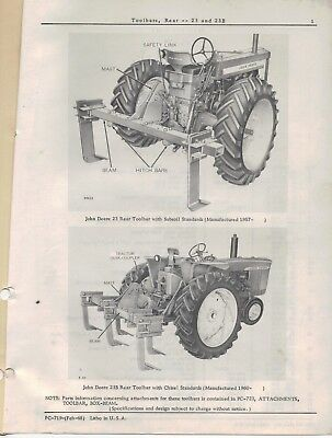 John Deere Toolbars Rear 23 23B Parts Catalogue PC-719 1968 4298F