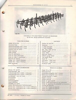 John Deere Cultivator C10E Parts Catalogue PC-3065 1968 4297F