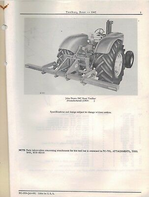 John Deere Toolbar Rear 24C Parts Catalogue PC-730 1968 4302F