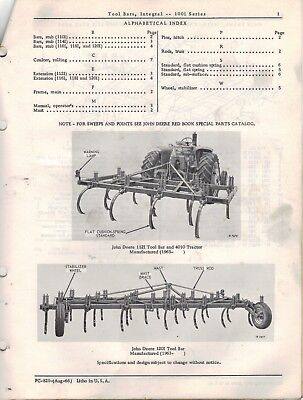 John Deere Toolbar Integral 1001 Series Parts Catalogue PC-829 1966 4304F