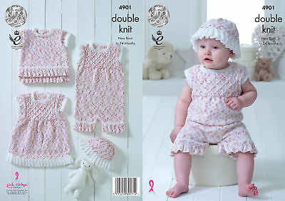 Baby Set Double Knitting Pattern Frilly Playsuit Dress Top & Hat King Cole 4901