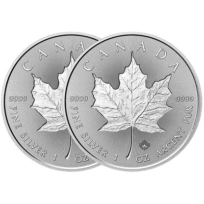 Lot of 2 - 2018 $5 Silver Canadian Maple Leaf 30th Incuse 1 oz Brilliant Uncircu
