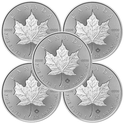 Lot of 5 - 2018 $5 Silver Canadian Maple Leaf 30th Incuse 1 oz Brilliant Uncircu