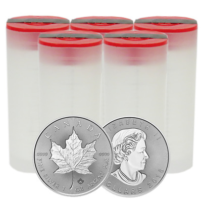 Lot of 100 - 2018 $5 Silver Canadian Maple Leaf 30th Incuse 1 oz BU 4 Full Rolls