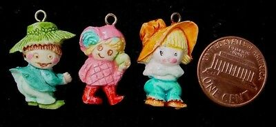 Vintage 16 x 26mm Celluloid Kid Charms Embedded Loop 3