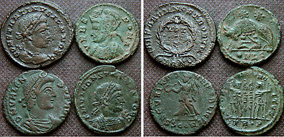 4 LATER ROMAN AE COINS incl Valens, She-wolf & twins