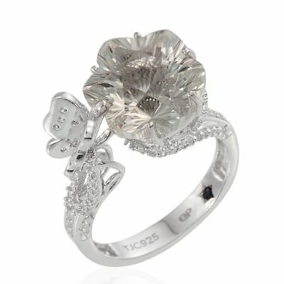 Green Amethyst, Pink Tourmaline Ring in Platinum Over Silver 7.250 Ct.