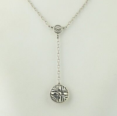 """New Flower Drop Pendant Necklace Diamond Sterling Silver 18k Gold 16""""-18"""" Floral"""