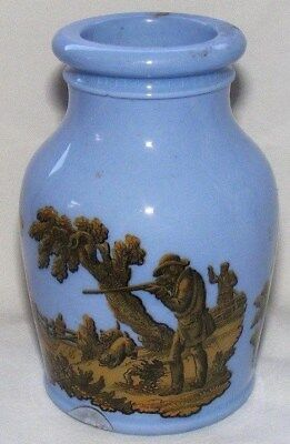 Victorian Prattware - Pale Blue Jar with hunting scenes - 19th August 1856