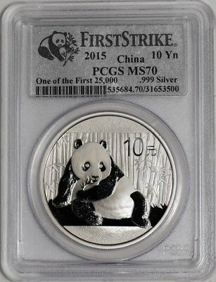 2015 China Panda 10 Yuan Silver 1oz .999 #DC-1984 MS70 PCGS First Strike