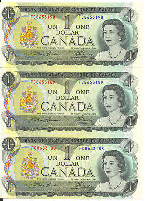 Bank of Canada 1973 $1 One Dollar Lawson-Bouey Lot of 3 Consecutive Notes AU