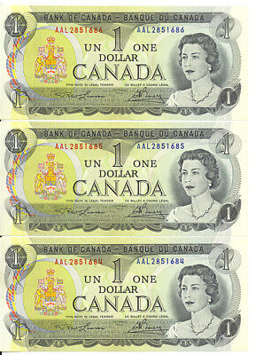 Bank of Canada 1973 $1 One Dollar Lawson-Bouey Lot of 3 Consecutive Notes UNC