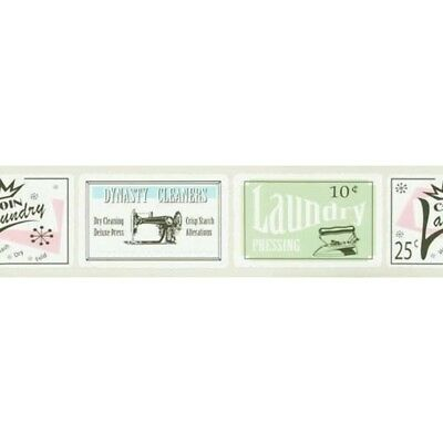 Retro Laundry Signs in Taupe Wallpaper Border 687720