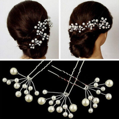 White Pearl Flower Hair Clip Pin Wedding Party Bridal Prom Jewellry Beauty Chic