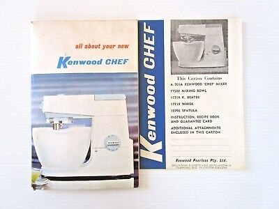 Kenwood Chef OWNERS MANUAL & RECIPE BOOK - 108 PAGES BREADS MEATS BISCUITS