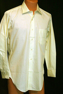 MENS M 15.5 32 NOS Yellow Sears Pointed Collar Vtg 60s Deadstock L/S Dress Shirt