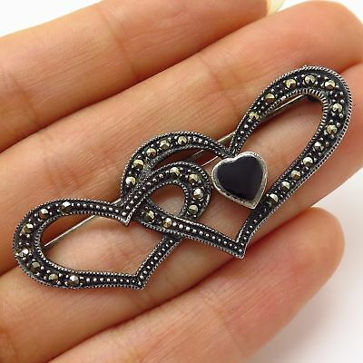 925 Sterling Silver Bp1369 Vintage Marcasite Love Heart Brooch Pin