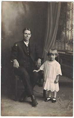 Real Photo Postcard of Uncle Bert & Katie on Back - RPPC postcard Early 1900s