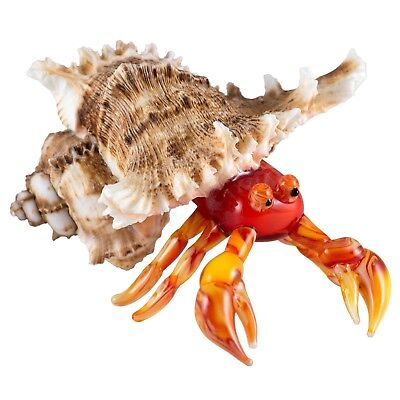 "Hand Blown Art Glass Red Hermit Crab In Natural Shell Figurine 3.5"" Long New!"