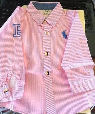 Pink & White Stripe Childrens Size 3-4  Horse Shirt Showing, Pony Club Horse Rid