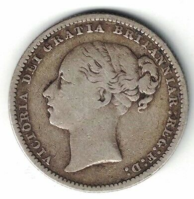 Great Britain 1881 Shilling Queen Victoria Sterling Silver Coin