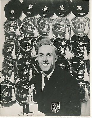 PRESS PHOTOGRAPH: Billy Wright Wolves with England caps