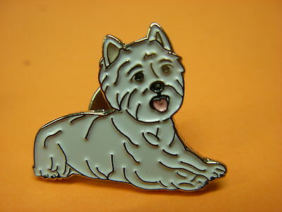 Westie dog pin badge. Well detailed lapel badge, West Highland terrier