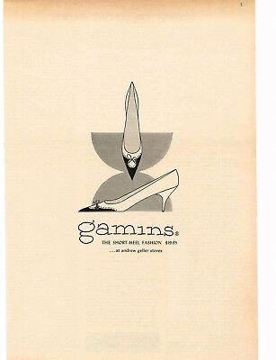 1960 GAMINS Short Heel Woman's Shoes art VTG Print Ad