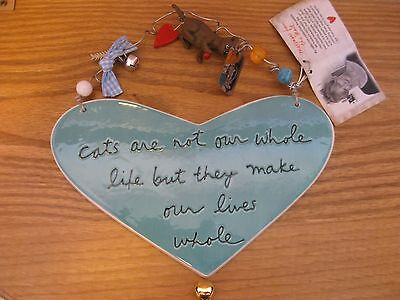 New Sandra Magsamen Ceramic Heart w Cat Figure  ...Cats Make Our Lives Whole