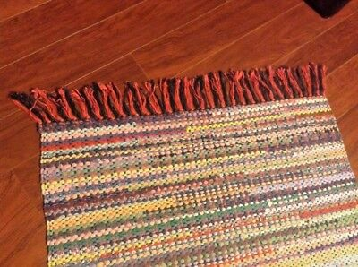 "Hand Made Amish Rag Rug Hand Loomed Cotton Multi- Colors 42"" X 27"" Nos Well Made"
