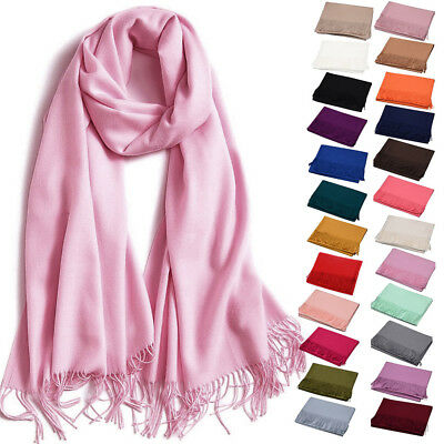 Solid Color Pashmina Blanket Scarf Large Winter Wrap Stole Shawl for Women Girls