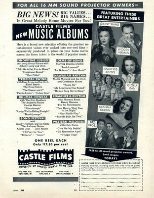 1949 Print Ad of musical entertainers: Deanna Durbin, Ritz Bros, Andrews Sisters