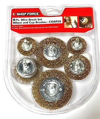 """6 Piece Rotary Drill Crimped Wire Wheel Cup Brush Set 1/4"""" Shank Clean Remove"""