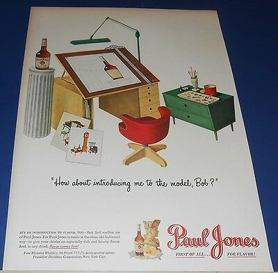 1947 Paul Jones Whiskey artist easel Ad //or U S Royal Tire drive on a cloud Ad