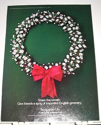 1985 TANQUERAY IMPORTED ENGLISH GIN AD ~ CHRISTMAS WREATH made of BOTTLES