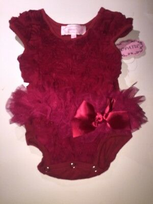 Popatu Infant Girl's 3-6 Months Red Roses One Piece Tutu With Nwt