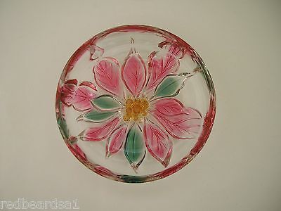 Glass Trinket Pin Candy Butter Dish Decorative Pink Poinsettia Flower 13cm