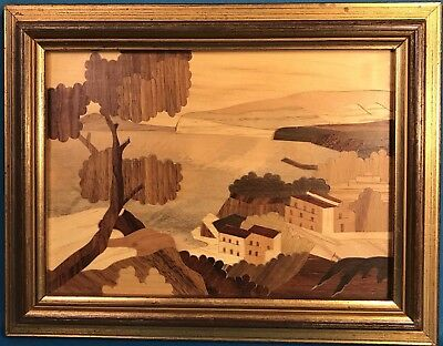Vintage MARQUETRY City Seaside Ocean Wall Artwork Wood Inlay Picture Gold Frame