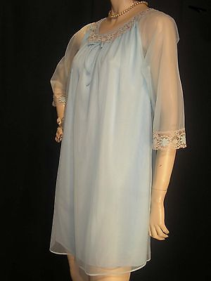 S NOS Vintage 60s 70s BLUE NYLON w/SHEER CHIFFON LACE Waltz Gown NIGHTGOWN