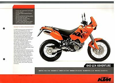 KTM 640 LC4 ADVENTURE Motorcycle Brochure / Leaflet 2006 7609E