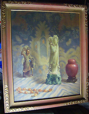 Vintage 1940s Asian Chinese Jade and China FRAMED PRINT Snuff Bottle Statue