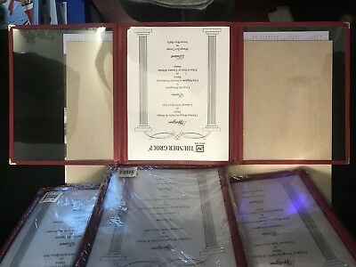 "Red Tri-Fold Six View Three Panel Menu Covers 8.5""x11"" - 17 New"