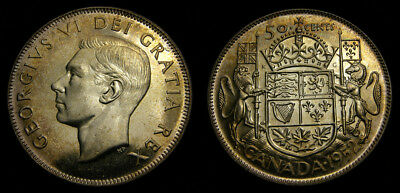 Canada 1952 50 Fifty Cents Toned BU