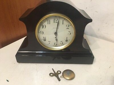 Nice Elegant Antique Seth Thomas Mantle Clock Faux Wood Grain Veneer 89AL