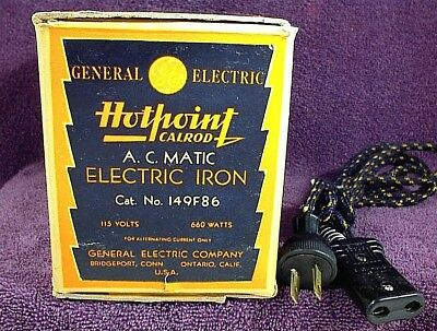Vintage Ge General Electric Hotpoint Calrod A. C. Matic Electric Iron 149F86 Box