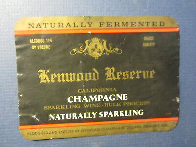 Old Vintage - KENWOOD RESERVE California Champagne - WINE LABEL - Fremont CA.