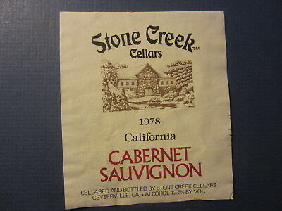Old Vintage 1978 STONE CREEK CELLARS Cabernet Sauvignon WINE LABEL Geyserville