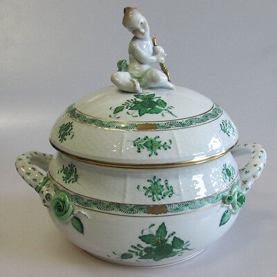 A Herend Chinese Bouquet Green Porcelain Tureen with Cherub Finial Lid
