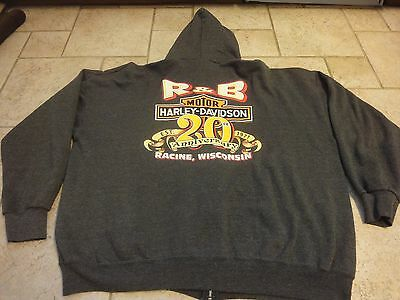 Vintage 1991 Harley Davidson Motorcycles Racine Hooded Sweatshirt Jacket 4XL New